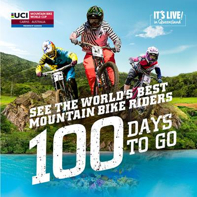 Social media promotional image - 100 days to go - 2016 UCI Mountain Bike World Cup