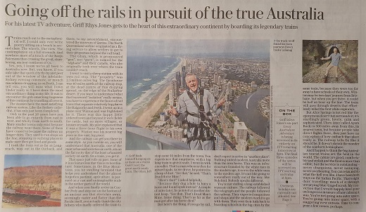 The Telegraph newspaper clipping on Griff's Great Australian Adventure TV series which showcases Queensland tourism experiences